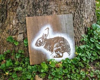 Rabbit Painting on Reclaimed Wood