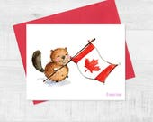 "5.5""x 4.25"" Beaver Greeting card/ Canada day/ Blank card"