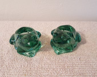 Green Glass Frog Votive Candle Holders (Set of 2)