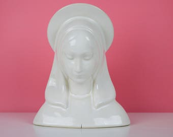 Virgin Mary Planter White Ceramic