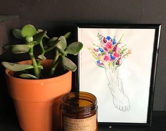 Floral Foot Original Artwork