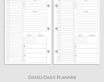 "Dated Daily Planner Inserts, Time Blocking, Schedule, Top 3, Meal & Water Tracker, DO1P ~ Half Letter / 5.5"" x 8.5"" / Mini 3-Ring (3RM-DV1)"