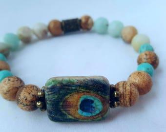 Mala bracelet/   Yoga bracelet/  boho /  beaded bracelet/ gemstone /wrist  bracelet/ stackable bracelet/ peacock