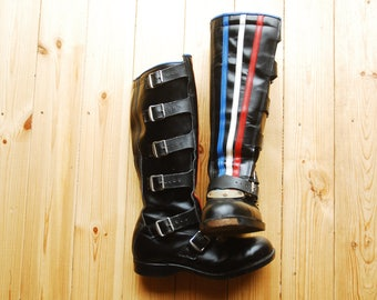 Vintage British Leather Motorcycle Boots Red,White Blue Striped Buckle UK 9 US 10 Cafe Racer