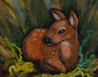 Deer needle felting ~ fawn ~ Felt Picture ~ Felt wall art ~ Wool painting ~ Wildlife art ~ Deer felting
