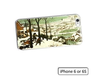 Hunters iPhone case with outdoor, snow, wildlife scene by Flemish Dutch artist