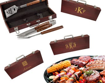 Monogram Barbecue Tool Set - Personalized BBQ Utensils - Outdoor Cooking Set - Barbecue Chef Gift - Father's Day Gift Idea - Gift for Him