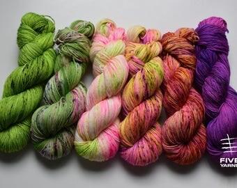 Hand dyed sock yarn, Set of 6x100g skeins - Radiant - What the Fade set -Sock- 85 Superwash Merino - 15 Nylon, Handdyed yarn