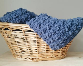 Ultra-Soft Chunky Crochet Baby Blanket in {Country Blue}