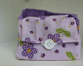 Pocket Book of Mormon scripture case/Mini tote/ Mini purse/Primary scripture case/Purple with flowers