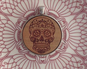 Sugar Skull Design- Laser Cut and Engraved Wood Pendant Necklace.