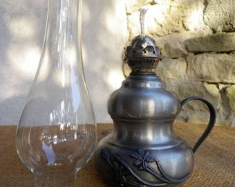 Pewter oil lamp - Table lamp - Pewter decoration - Decoration shabby