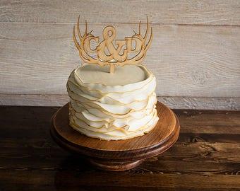 Antler Cake Topper, Wedding Cake Topper, Rustic Cake Topper