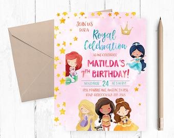 Princess birthday invitation, Princess Invitation, Royal Birthday invitation, Royal Birthday Party,  Girl Birthday Invitations, Girl Invites