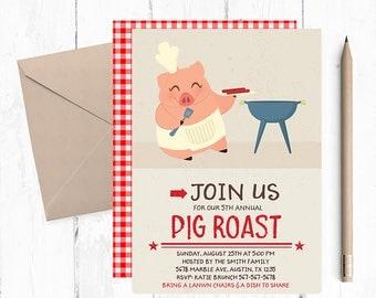 Pig Roast Invites, Pig Roast Printable, Pig Roast Invitation, Pig Roast Invitations, Pig Roast Party, Pig Roast Invite, Pig Roast digital,