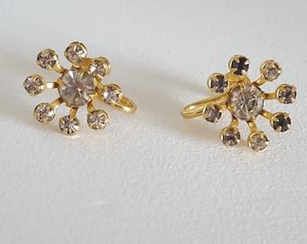 Signed Bugbee and Niles Vintage Rhinestone Screw Back Earrings - B. N. Vintage Jewelry - B. N. Vintage Flower Earrings - Costume Jewelry