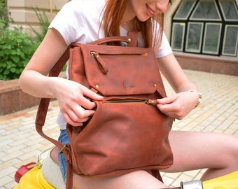 Leather backpack women, Leather backpack brown, Cognac leather backpack, backpack leather, Travel rucksack, Women's backpack, Women backpack
