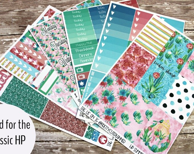 Planner Stickers - Fits Happy Planner Classic - Tropical Summer Planner Stickers - Ala Carte Weekly Sticker Kit - Summer Succulent