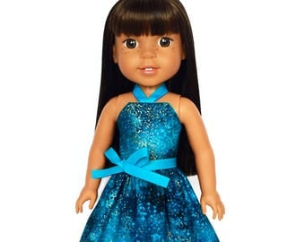 Halter Dress, Outer Space, Galaxy, Turquoise Blue, Gold, 14.5, Fits dolls such as American Girl, Wellie Wishers, 14 inch Doll Clothes