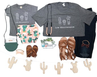 """Mommy and Me """"Low Maintenance"""" Cactus Shirts"""