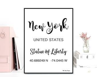 GPS New York coordinates, GPS art print, Latitude longitude printable, Wall decor, Typography quote, Black & white poster, Printable wall
