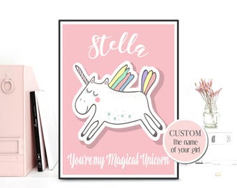 Personalized poster baby, Personalized nursery decor, Custom name art poster, Custom poster sign, Nursery art, Unicorn poster, Baby gift