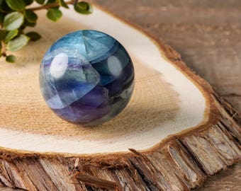 One Medium Banded Fluorite Sphere with Stand - Rainbow Fluorite Sphere, Healing Crystal Ball, Fluorite Sphere, Polished Sphere E0677