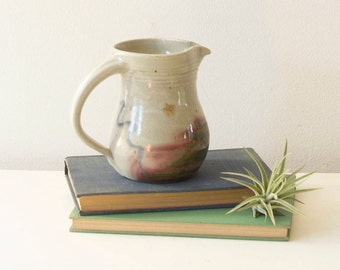 Vintage Handcrafted Pottery Pitcher, Rustic Pottery Pitcher, Signed Pottery