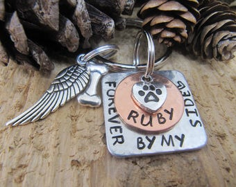 Pet memorial key chain, Loss of pet, Memorial for dog, Forever by my side, Pet loss gift, Sympathy gift,dog memorial, cat memorial