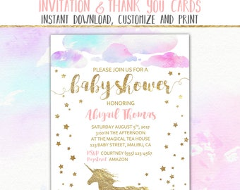 "Unicorn Baby Shower Invitation & Thank You Card, Editable Printable Unicorn Shower Invite, 5x7"" Flat Double Sided PDF INSTANT DOWNLOAD"