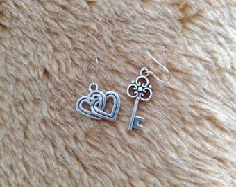Silver Key and Heart Earrings