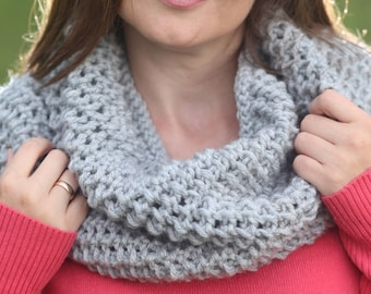 Gray cowl Knitted cowl Knitted neck warmer Cowl scarf Knit cowl Crochet cowl Knit snood Christmas gift  Neck wrap Gray neck warmer Snood