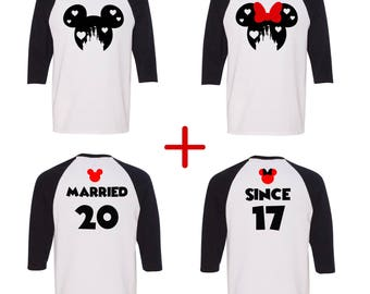 Disney HEART CASTLE couples UNISEX baseball tee, Minnie and Mickey unisex baseball tee, Disney inspired, Valentine's day shirt, matching tee