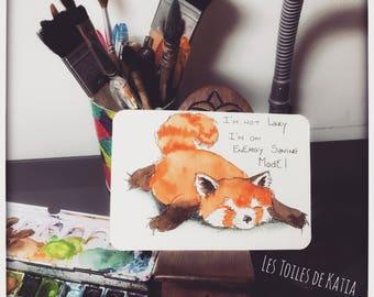 The Fox in energy saving mode. Watercolor postcard