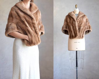 vintage mink fur stole | real fur wrap | vintage light brown mink fur cape  | fur wedding wrap | mink fur bridal coverup