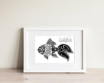 Goldfish Art Print, Black and white art, Goldfish Art, Fish Art, Fish Print, Fish Drawing, Ocean Art, Nautical Art, Kids Art, Kids Prints