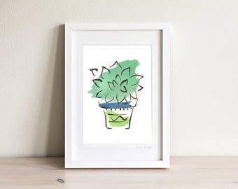 Framed Echeveria Art Print, Succulent Wall Art Print, Plant Illustration, Desert Art, Garden Art, Cactus art print, Gardeners Gift,