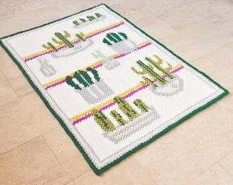 Cactus Rug, Succulent rug, Area Cacti rug, Hand woven rug, Cactus home decor, Nursery rug, Succulent tapestry, Greenery decor, Green rug