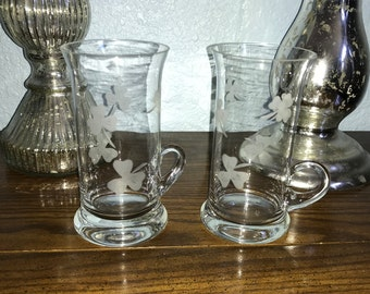 Etched Shamrock Crystal Set of 2 Irish Coffee Mugs, c. 1970's, Pristine Condition