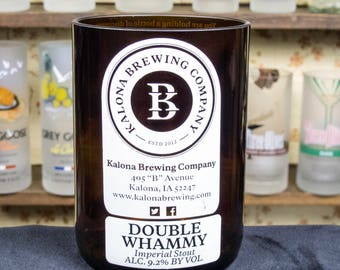 Beer Gift Idea Kalona Brewing Double Whammy Ale Drinking Glass for Dad From Wife Gift for real men liquor cabinet recycled beer bottle iowa