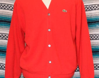 Vintage IZOD Lacoste Cardigan Wool Sweater Red XL X-Large