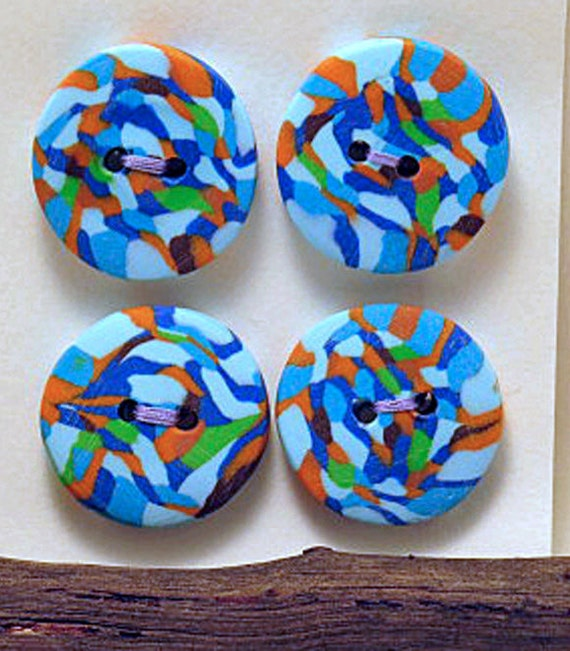 Buttons reflections round buttons set of 4 unique for Decorative pins for crafts
