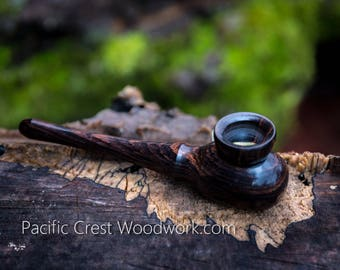 """Blackwood collection, Pipe,  6"""" long with a 3/4"""" bowl, wood pipe, cool pipe, unique pipe. Tobacco pipe, wooden pipe"""
