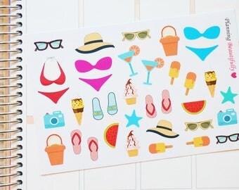 Summer Stickers, Summer Fun Stickers, Summer Essentials Stickers, Summer Planner Stickers, Bikini Stickers, Bikini Planner Stickers