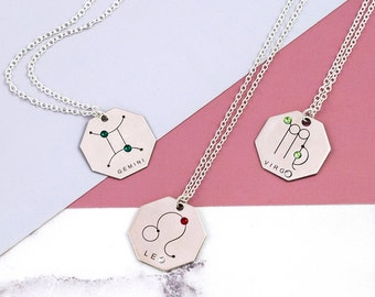 Zodiac Sign Necklace | Sterling Silver | Horoscope Necklace | Astrology Gift | Zodiac Signs Jewelry | Zodiac Necklace | Galaxy Jewelry Gift