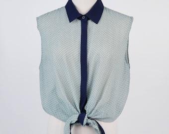 Vintage Print Flat Collar Sleeveless Green Vintage Blouse Size M