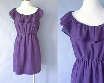Vintage purple silk ruffle dress made in USA women's size S/M