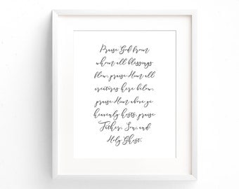 Hymn Print - Doxology Print - Praise God From Whom All Blessings Flow - Typography Print - Minimal Print - Gifts Under 20 - Home Decor