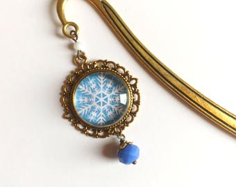 Holiday Bookmark- shiny brass book hook with  Snowflake accent