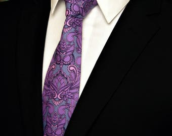 Purple Paisley Tie – Cotton Owl Neck Tie for Men in Purple and Grey Paisley Motif